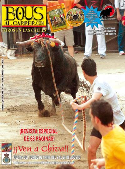 """Portada de la Revista """"Bous al Carrer"""" - 1 de agosto de 2008"""