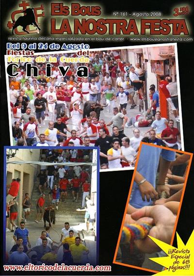 """Portada de la revista """"Els Bous la nostra festa"""" - Agosto 2008"""